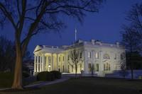 Dusk settles over the White House in Washington on Jan. 23, 2021. (AP Photo/Patrick Semansky)