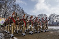 Indian paramilitary soldiers march during the full-dress rehearsal for the Republic Day parade in Srinagar, Indian controlled Kashmir, on Jan. 24, 2021. (AP Photo/ Dar Yasin)