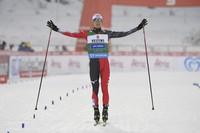 Winner Akito Watabe of Japan reacts after finishing the Nordic Combined 10km Cross Country skiing at the FIS World Cup Lahti Ski Games in Lahti, Finland, on Jan. 24, 2021. (Markku Ulander/Lehtikuva via AP)