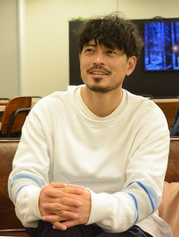 Keita Suzuki, former Japan national soccer player and head of intestinal bacteria research firm AuB, is seen at a shared office space in Tokyo's Chuo Ward on Jan. 12, 2021. (Mainichi/Arina Ogata)