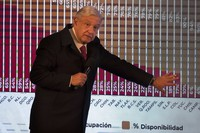 In this Dec. 18, 2020 file photo, Mexican President Andres Manuel Lopez Obrador points to a graph showing the percentages of hospital beds available, state by state, during his daily news conference at the presidential palace, Palacio Nacional, in Mexico City. (AP Photo/Marco Ugarte)