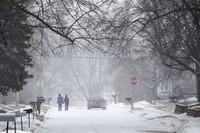 Two people hold hands while walking south on Madison Street toward 27th Avenue in Bellevue, Nebraska, during a winter storm warning on Jan. 25, 2021. (Chris Machian/Omaha World-Herald via AP)