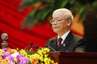 Vietnam Communist Party General Secretary Nguyen Phu Trong delivers a speech during the opening of 13th Communist Party Congress in Hanoi, Vietnam, on Jan. 26, 2021. (An Van Dang/VNA via AP)