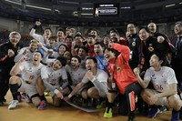 Japan's players celebrate after the World Handball Championship against Bahrain in Cairo, Egypt, on Jan. 25, 2021. (Mohamed Abd El Ghany, Pool via AP)