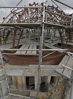 The Atomic Bomb Dome's roof is seen undergoing preservation work in Hiroshima's Naka Ward on Jan. 27, 2021. (Mainichi/Naohiro Yamada)
