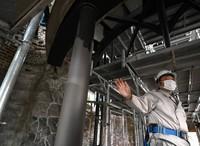 A repainted steel part inside the Atomic Bomb Dome is seen in Hiroshima's Naka Ward on Jan. 27, 2021. (Mainichi/Naohiro Yamada)