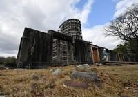 The Atomic Bomb Dome currently undergoing preservation work is seen in Hiroshima's Naka Ward on Jan. 27, 2021. (Mainichi/Naohiro Yamada)
