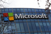 The logo of Microsoft is displayed outside the headquarters in Paris, on Jan. 8, 2021. (AP Photo/Thibault Camus)