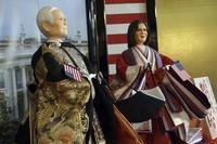 """Hina"" dolls depicting U.S. President Joe Biden and Vice President Kamala Harris, right, are displayed for Girls' Day celebrations at Kyugetsu, a Japanese traditional doll company, on Jan. 27, 2021, in Tokyo. (AP Photo/Eugene Hoshiko)"