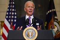 President Joe Biden delivers remarks on COVID-19, in the State Dining Room of the White House, on Jan. 26, 2021, in Washington. (AP Photo/Evan Vucci)