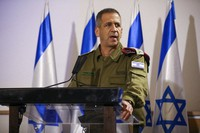 In this Nov. 12, 2019 file photo, Aviv Kochavi holds a press conference following the killing of a senior Islamic Jihad commander in Gaza by Israel, in Tel Aviv, Israel. (AP Photo/Oded Balilty)