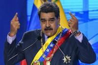 Venezuelan President Nicolas Maduro speaks during a ceremony marking the start of the judicial year at the Supreme Court in Caracas, Venezuela, on Jan. 22, 2021. (AP Photo/Matias Delacroix)