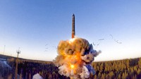 In this file photo taken from a video distributed by the Russian Defense Ministry Press Service on Dec. 9, 2020, a rocket launches from a missile system as part of a ground-based intercontinental ballistic missile test launched from the Plesetsk facility in northwestern Russia. (Russian Defense Ministry Press Service via AP)