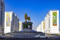 The statue of the Alabai, the Central Asian shepherd dog is seen in Ashgabat, Turkmenistan, on Nov. 14, 2020. (AP Photo/Alexander Vershinin)