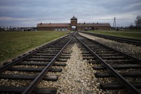 The railway tracks from where hundred thousand of people was directed to the gas chambers to be murdered immediately inside the former Nazi death camp of Auschwitz Birkenau or Auschwitz II. in Oswiecim, Poland, on Dec. 7, 2019. (AP Photo/Markus Schreiber)