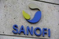 In this Nov. 30, 2020 file photo, the logo of French drug maker Sanofi is seen at the company's headquarters in Paris. (AP Photo/Thibault Camus)