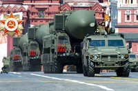 In this file photo taken on June 24, 2020, Russian RS-24 Yars ballistic missiles roll in Red Square during the Victory Day military parade marking the 75th anniversary of the Nazi defeat in Moscow, Russia. (AP Photo/Alexander Zemlianichenko)