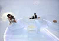 """The """"ice hotel,"""" where guests can stay with their dogs, is seen at """"Hoshino Resorts Tomamu"""" on Jan. 17, 2021. (Mainichi/Taichi Kaizuka)"""