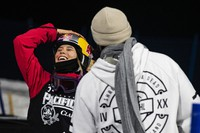 Winter X Games rookie Eileen Gu celebrates after her last run during the women's finals at the 2021 Winter X Games Aspen on Friday, Jan. 29, 2021, in Aspen, Colo. (Kelsey Brunner/The Aspen Times via AP)