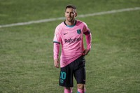 Barcelona's Lionel Messi is seen during a Spanish Copa del Rey round of 16 soccer match between Rayo Vallecano and FC Barcelona at the Vallecas stadium in Madrid, Spain, on Jan. 27, 2021. (AP Photo/Manu Fernandez)