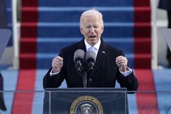 就任式で演説するバイデン米大統領=ワシントンで2021年1月20日、AP