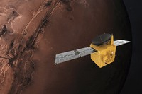 This June 1, 2020 illustration provided by Mohammed Bin Rashid Space Centre shows the United Arab Emirates' Hope Mars probe. (Alexander McNabb/MBRSC via AP)