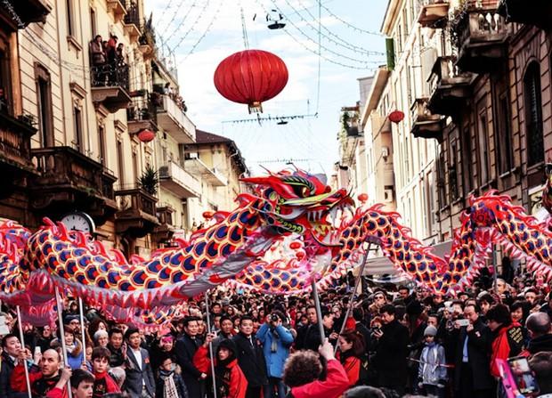 ミラノのチャイナタウンのお祭り