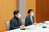 Emperor Naruhito and Empress Masako meet online with residents of Kumamoto Prefecture affected by the 2020 floods that hit the southwestern Japan island of Kyushu, in this photo taken in Tokyo on Jan. 27, 2021. (Photo courtesy of the Imperial Household Agency)