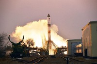 In this photo provided by Roscosmos Space Agency Press Service, the Progress MS-16 cargo blasts off from the launch pad at Russia's space facility in Baikonur, Kazakhstan, on Feb. 15, 2021.  (Roscosmos Space Agency Press Service photo via AP)