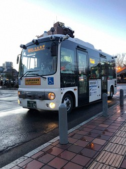 A self-driving bus used in a demonstration experiment is seen in Maebashi on Feb. 15, 2021. (Photo courtesy of the Maebashi Municipal Government)
