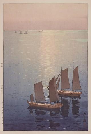 ≪瀬戸内海集 光る海≫ 大正15(1926)年 木版、紙 37.2×24.7㌢