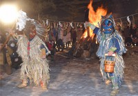 Namahage dance in front of a bonfire at the Namahage Sedo Festival in the city of Oga, Akita Prefecture, on Feb. 12, 2021. (Mainichi/Hiroshi Takano)