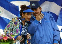 In this Sept. 5, 2018 file photo, Nicaragua's President Daniel Ortega and his wife and Vice President Rosario Murillo, lead a rally in Managua, Nicaragua. (AP Photo/Alfredo Zuniga)