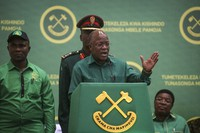 In this July 11, 2020 file photo, Tanzania's President John Magufuli speaks at the national congress of his ruling Chama cha Mapinduzi (CCM) party in Dodoma, Tanzania. (AP Photo)