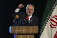 Iran's Foreign Minister Mohammad Javad Zarif speaks during a conference in Tehran, Iran, on Feb. 23, 2021. (AP Photo/Vahid Salemi)