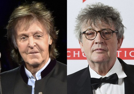 Paul McCartney appears during his One on One Tour in Tinley Park, Illinois, on July 26, 2017, left, and poet Paul Muldoon appears at the 2019 PEN America Literary Gala in New York on May 21, 2019. (Photos by Rob Grabowski/Invision/AP, left, and Evan Agostini/Invision/AP)
