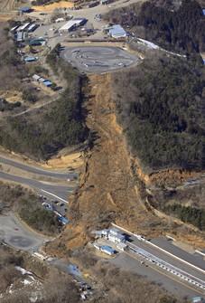 This photo taken shows a landslide at Ebisu Circuit in Nihonmatsu, Fukushima Prefecture in northeastern Japan, on Feb. 14, 2021. (Mainichi)