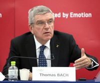 International Olympic Committee President Thomas Bach speaks at a press conference in Tokyo on Nov. 16, 2020. (Pool photo)