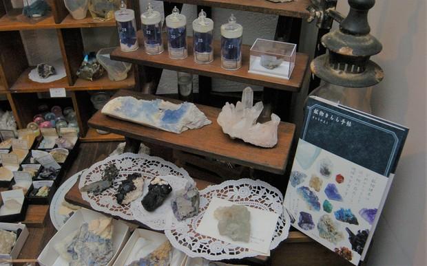 カフェ「SAYA」の店内には、水晶や蛍石、トルマリン(電気石)などさまざまな鉱物が所狭しと並んでいる