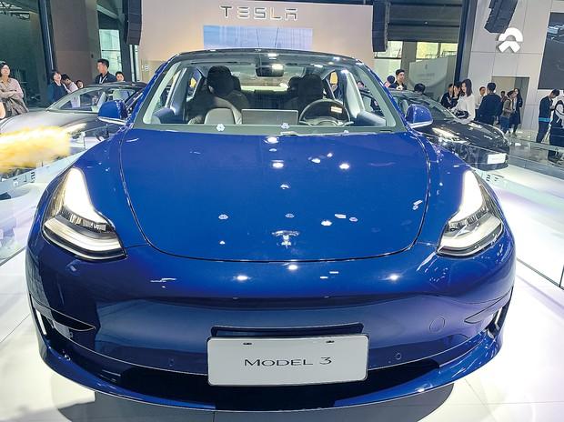 テスラの中国上海工場で生産されている「モデル3」 筆者撮影