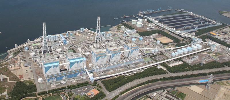 アンモニアを混ぜて発電する実験を始めるJERAの碧南火力発電所=愛知県碧南市で(JERA提供)