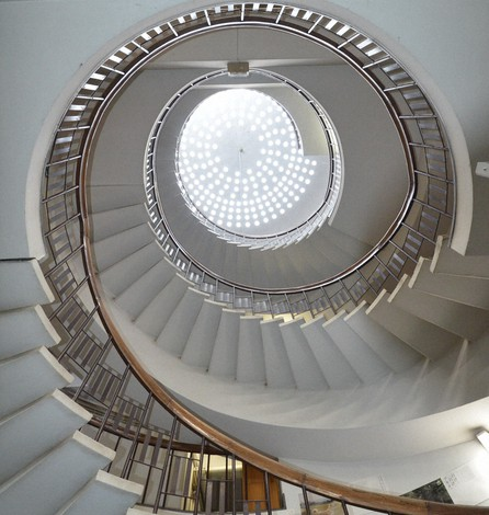 This photo shows the spiral staircase with its dome that has skylight windows in the western main building of the Odate municipal government office in Akita Prefecture on Feb. 19, 2021. (Photo courtesy of Hikoshi Tamura)