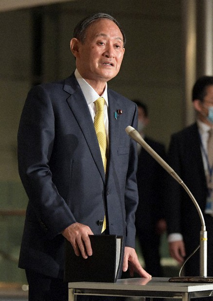 Prime Minister Yoshihide Suga is seen at a press conference in Tokyo on Feb. 24, 2021. (Mainichi/Kan Takeuchi)