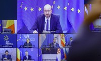 European Council President Charles Michel, top of screen, takes part in an EU Summit via videoconference link, at the European Council building in Brussels, on Feb. 25, 2021. (Olivier Hoslet, Pool via AP)