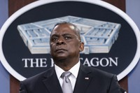 U.S. Secretary of Defense Lloyd Austin listens to a question as he speaks during a media briefing at the Pentagon on Feb. 19, 2021, in Washington. (AP Photo/Alex Brandon)