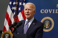 President Joe Biden speaks during an event to commemorate the 50 millionth COVID-19 shot, in the South Court Auditorium on the White House campus, on Feb. 25, 2021, in Washington. (AP Photo/Evan Vucci)