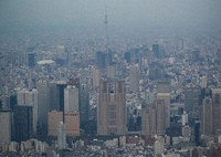 High-rise buildings in Tokyo's Shinjuku Ward are seen with the Tokyo Metropolitan Government Building in the center in this April 2020 file photo taken from a Mainichi Shimbun helicopter. (Mainichi/Kota Yoshida)