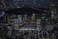 This Feb. 27, 2020 file photo taken from a Mainichi Shimbun helicopter shows central Tokyo's Marunouchi business district near JR Tokyo Station. (Mainichi/Koichiro Tezuka)