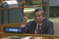 In this image taken from video by UNTV, Myanmar Ambassador to the United Nations Kyaw Moe Tun flashes the three-fingered salute, a gesture of defiance done by anti-coup protesters in Myanmar, at the end of his speech before the U.N. General Assembly at the United Nations on Feb. 26, 2021. (UNTV via AP)