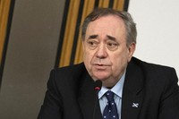 Former Scottish leader Alex Salmond makes his opening statement to a committee of the Scottish parliament at Holyrood in Edinburgh, U.K., on Feb. 26, 2021. (Andy Buchanan/Pool via AP)